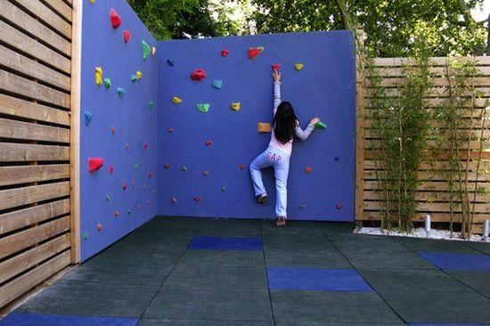 Build your own backyard rock climbing wall - how fun will this be!!