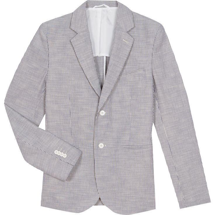 veste boris rayures tissées la veste boris présente des rayures tissées et est confectionnée en coton. sa coupe ajustée est structurée par une carrure épaulée et une fermeture boutonnée.