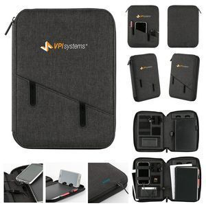The Claremont Powerbank Portfolio! Linen junior-size full zip portfolio with built in 5000 mAh powerbank. Interior includes: tech-rich features (collapsible smartphone/tablet stand, tech pockets and loops) card holder, pen loop, and polypropylene spiral bound notebook (50 pages). (Micro USB charging 5000 mAh powerbank with power indicator lights, Feature rich interior, Matte black gift box included). #corporate gift ideas