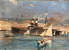 Traffic in a harbour by Eugène Louis Gillot