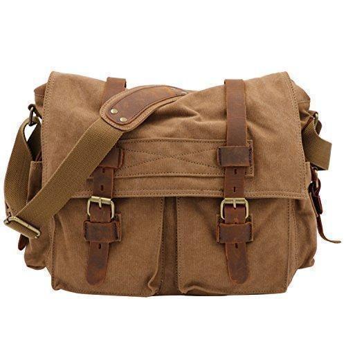 Oferta: 45€. Comprar Ofertas de COOLER- Moda bolso Lona+Cuero Mensajero Bolsa para hombre con estilo retro de instituto negro (marrón2) barato. ¡Mira las ofertas!