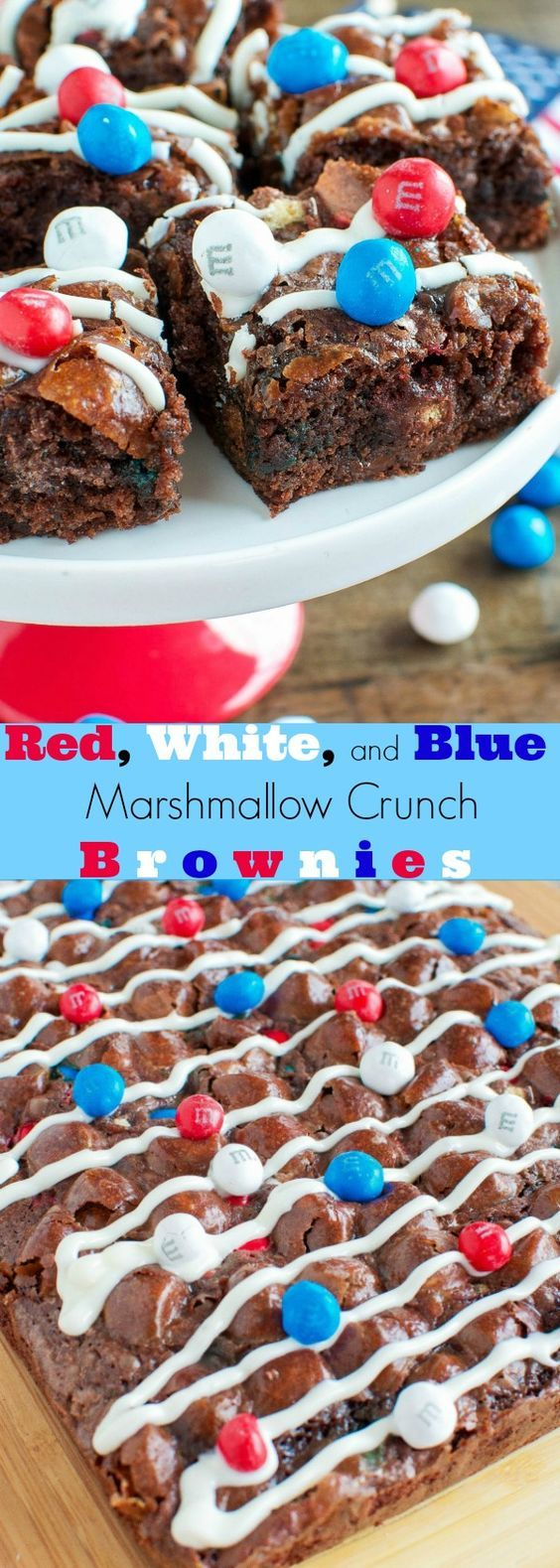 Red, White, and Blue Dessert Idea for Memorial Day. Try this recipe for Patriotic Marshmallow Crunch Brownies from @backforseconds at your weekend cookout!