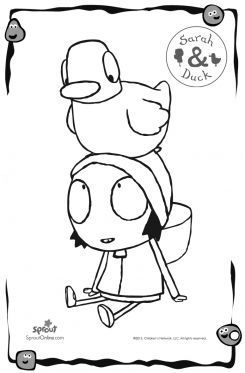 duck on sarahs head sarah duck coloring pages for kids sprout