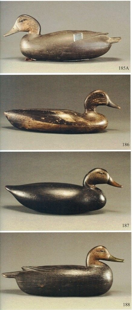 These four decoys are typical of the Delaware River region. The upper one is by John English, the two middle ones are unknown makers of the Blair school, and the lower is by Tom Fitzpatrick.