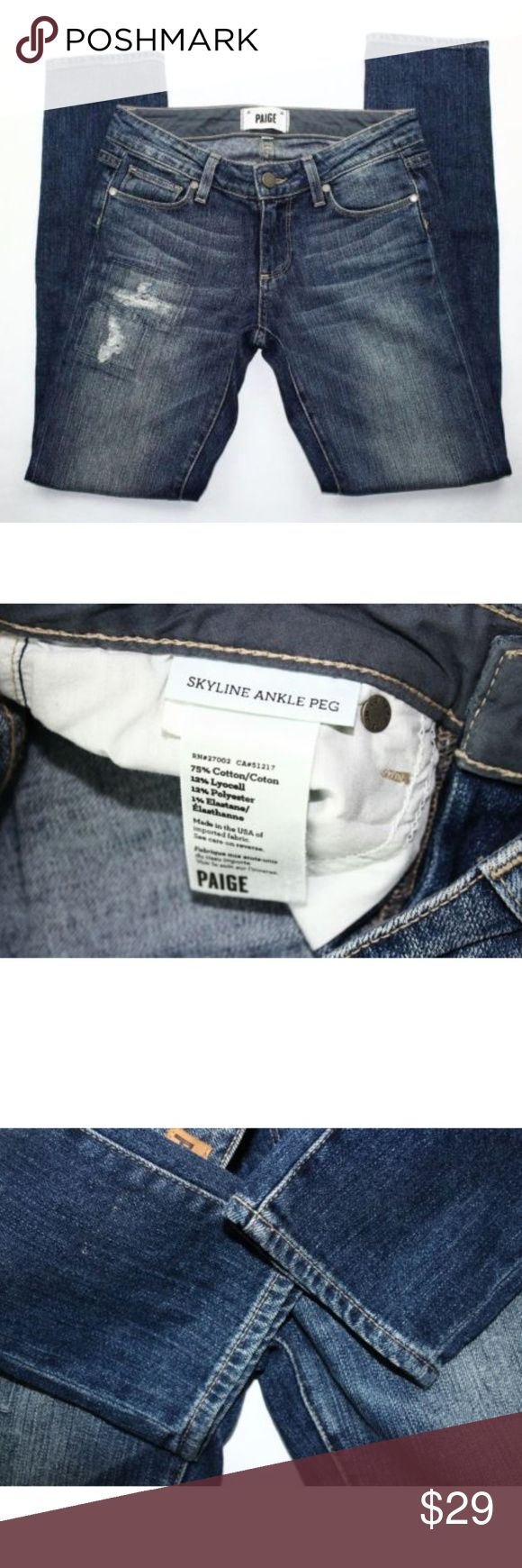[Paige] Skyline Ankle Peg Jeans SZ 24 Distressed Paige Womens Skyline Ankle Peg Jeans SZ 24 Distressed Skinny Medium Wash  No major flaws/damages or stains.   See photos for details. Pet & Smoke Free Home  Measurements: Flat Lay Length: 36 Waist: 13.5  Inseam: 28.5 Rise: 7  I do accept offers so don't be shy!!! PAIGE Jeans Skinny