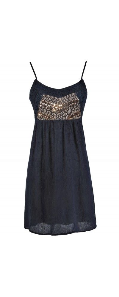Free-Spirited Glamour Sequin and Embroidered Dress in Navy  www.lilyboutique.com