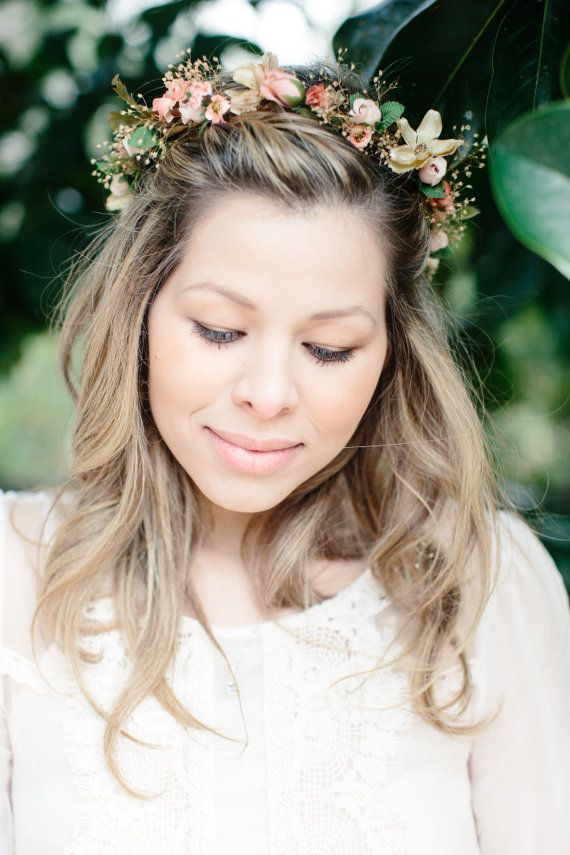 Spring Wedding Flower crown peach Woodland Bridal Floral handmade Accessories hair wreath Garden flower girl halo Fairy circlet champagne
