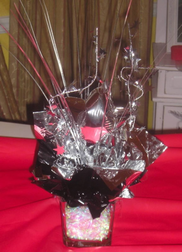 Small centerpieces for black silver and red themed high
