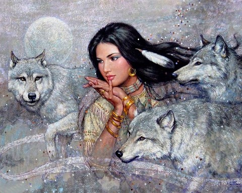 Indian Maiden and Wolves 2