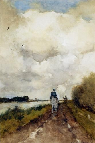 Horseman on path near Noorden by Johan Hendrik Weissenbruch