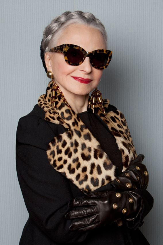 80-year-old goddess Joyce Carpati wearing Karen Walker sunnies!