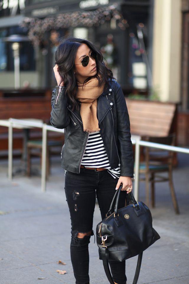 2015 Zara  jacket  //Gap striped tee // AG ankle jeans// Tory Burch satchel