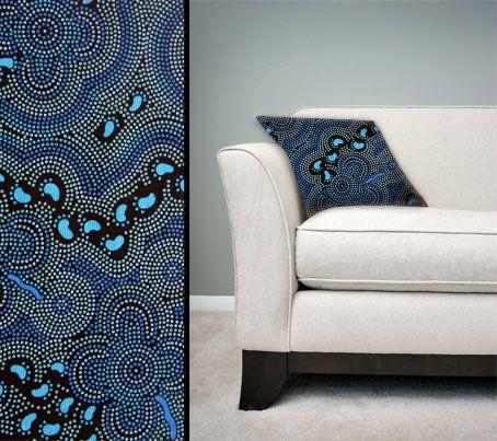 Design:  On Walkabout Blue Size: 50cm square - 100% cotton - zip Australia Made Code: CUSH-BUL05 Price: $30.00