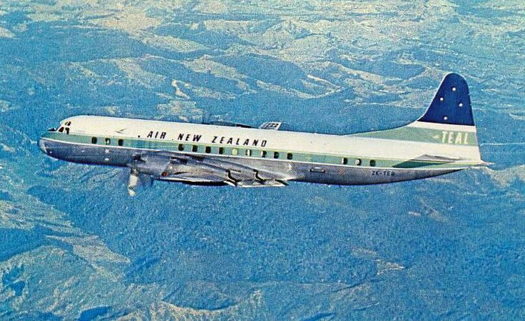 """Air New Zealand Lockheed L-188C Electra ZK-TEB """"Atarau"""" in-flight around the time of the change in name from Tasman Empire Airways - TEAL, April 1965. (Photo: Air New Zealand)"""
