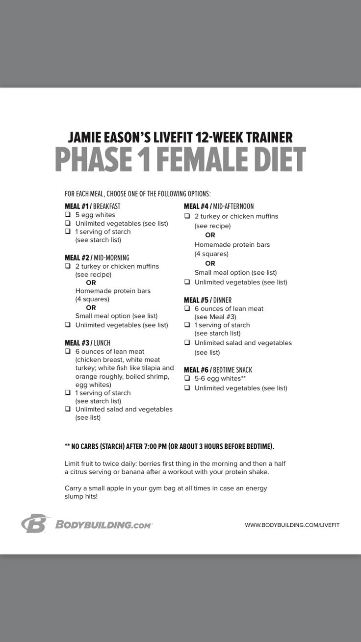 Jamie Eason phase 1 meal plan