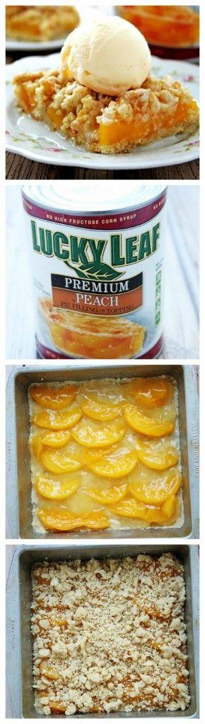 Peaches and Cream Crumb Bars a la Mode crunchycreamysweet.com  #recipe