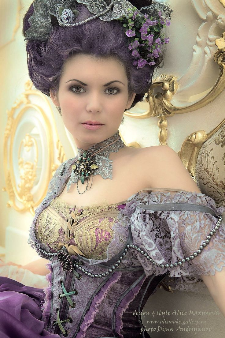 Purple baroque French inspired gown costume