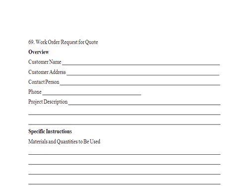 free customer work order request