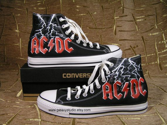 AC DC Converse Shoes by GalaxyStudio on Etsy, $65.00/I want these shoes,they are freekin awesome