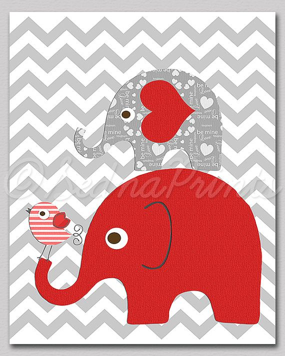 Red elephant nursery art print  8x10  Children wall by SednaPrints, $13.50