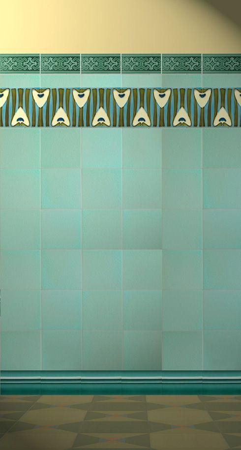 Puppenhaus Tapete Ausdrucken : Art Nouveau Bathroom Tiles