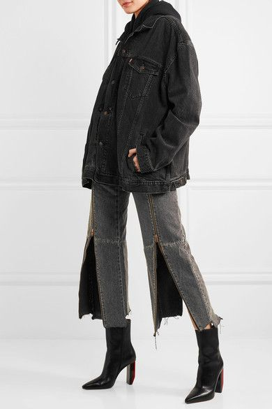 Charcoal and black denim  Button and zip fastening at front 100% cotton  Dry clean Imported