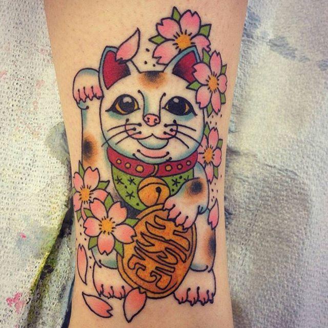 Lucky cat tattoo