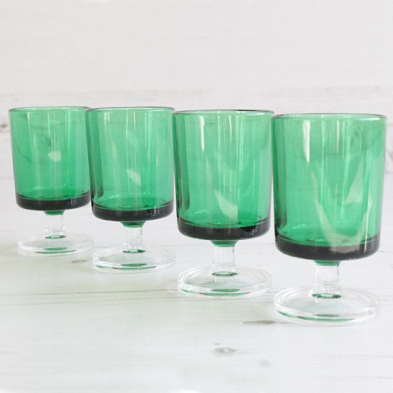 Vintage Green Drinking Glasses Emerald Shot by SecondHome on Etsy