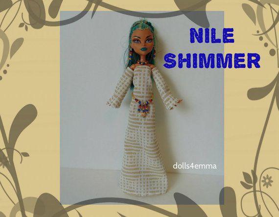 VERKOOP - NEFERA Monster High Doll Clothes - handgemaakte Egyptische jurk + riem + sieraden - aangepaste Fashion door dolls4emma