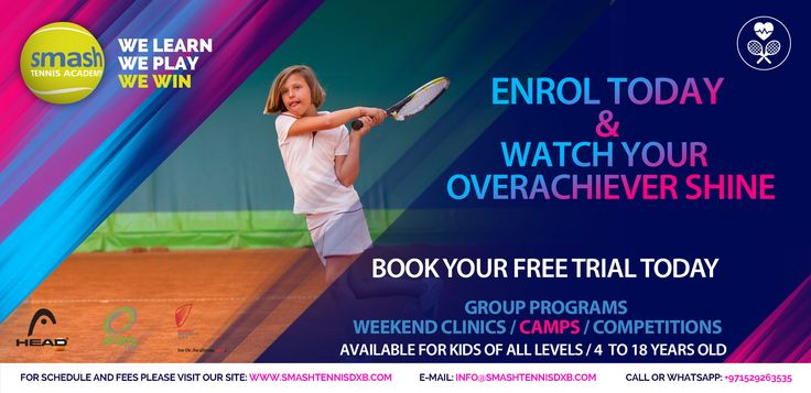 We at Smash Tennis create Champions! Enrol Today with Smash Tennis Academy and Watch Your Overachiever Shine!