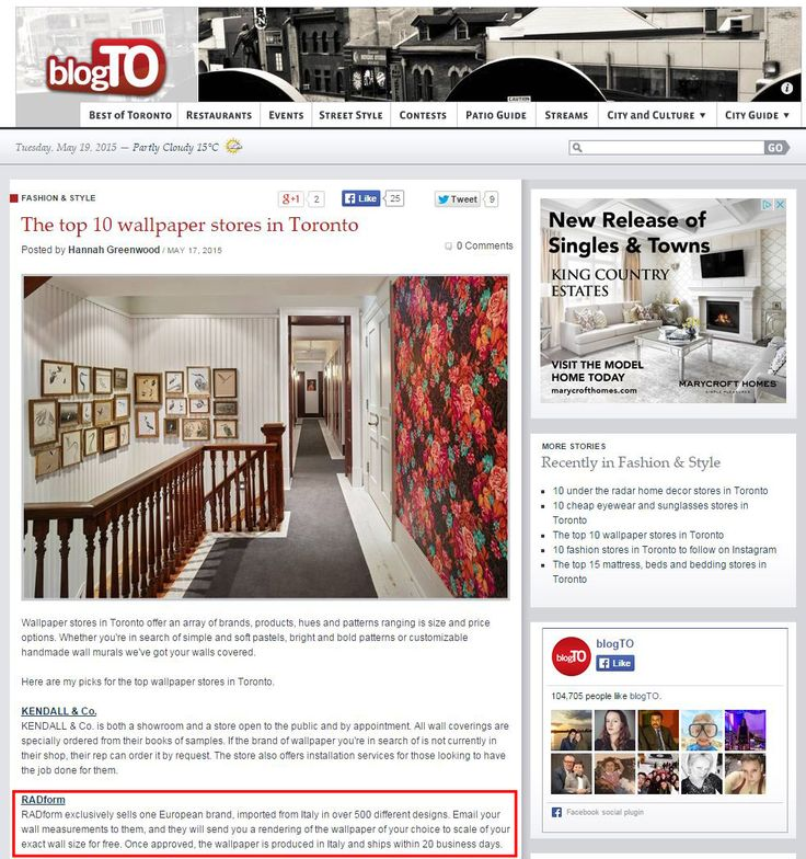 We are among top 10 wallpaper stores! Big thank you to blogTO for featuring us and for the vote! To see more of our wallpaper please visit the link below:  http://www.radform.com/products/wallpaper.html
