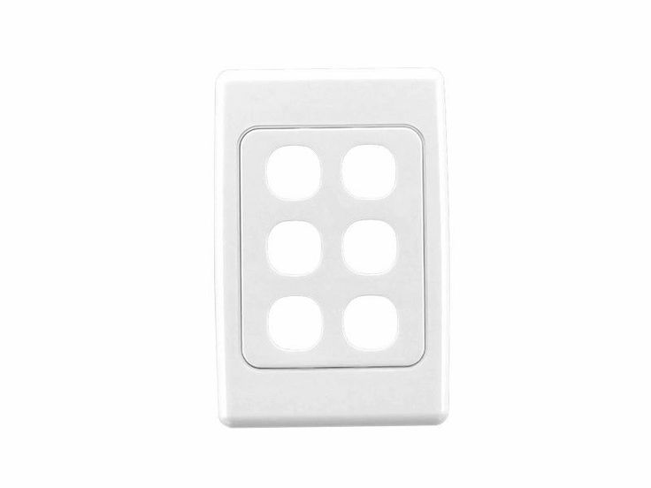 Clipsal Six 6 Gang Wall Plate Only 2036VH White 2000 Series Light Switch Data TV
