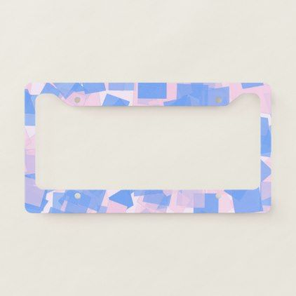 Pink and Blue Confetti License Plate Frame - baby gifts child new born gift idea diy cyo special unique design