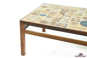 Danish Rosewood Sofa Table with tile inlay