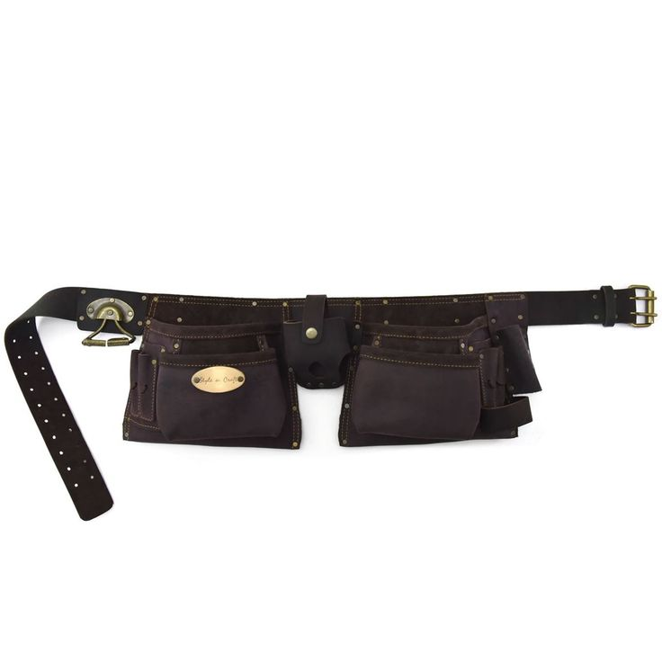 10 Pocket Carpenter's Tool Belt in Top Grain Oiled Leather in Dark Brown Color with Double Prong Metal Roller Buckle