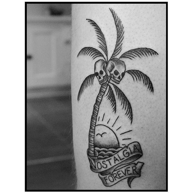 Nostalgia Forever.  #traditionaltattoo #nostalgiatattoo #palmtreetattoo #blackworkers #tattoo #tattooartist #seattle #seattletattoo #seattletattooartist #dotworktattoo #lineworktattoo #ink #inked #sydney #sydneytattoo #la #latattoo