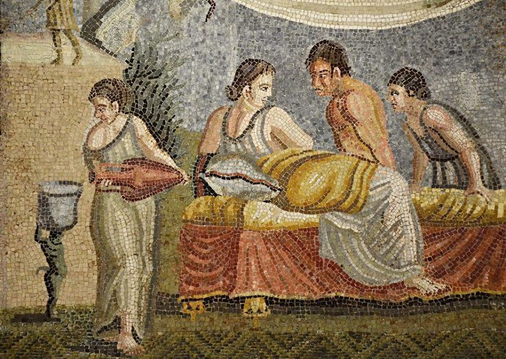 Mosaic emblema in opus vermiculatum from Centocelle (near Rome) depicting an intimate scene between a young woman and a man with a naked torso, 2nd century AD, Vienna Kunsthistorisches Museum, Austria