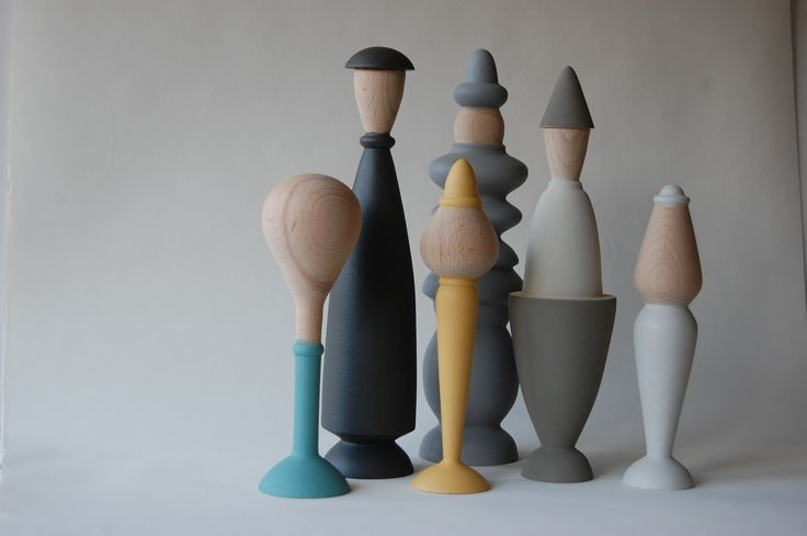 The 'TURN' collection of turned wood figures by Swede Mikael Löfström are a super cute but tasteful addition to any bookshelf. They come in either a grey family (with a few highlights of colour) or in natural timbers such as  walnut, cherry and birch. Shown at the 'Malmö by Proxy' group show at Ventura Lambrata. www.lofstrom.se