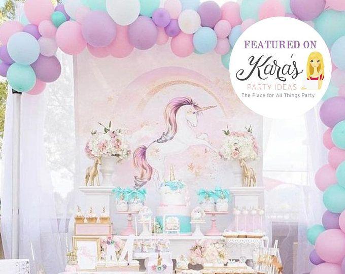 Unicorn Backdrop, Unicorn Paper Flower Set, Unicorn Wall