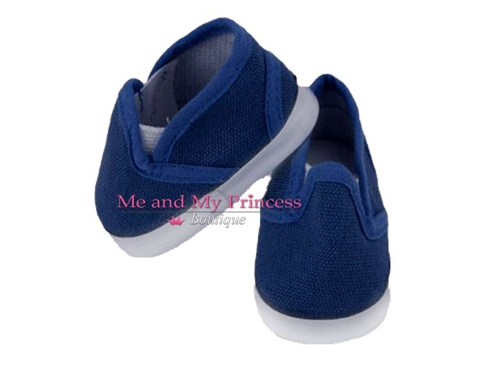 Navy Blue Canvas Deck Shoes for American Boy Doll Shoes