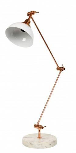 Lionel bordlampe med hvit skålformet skjerm i jern, arm i kobber og fot i hvit marmor. Stilig lampe med industrielt preg. Høyde: 56 cmDiameter: 20 cmSokkel: E27Max 40WLyskilder inngår ikke