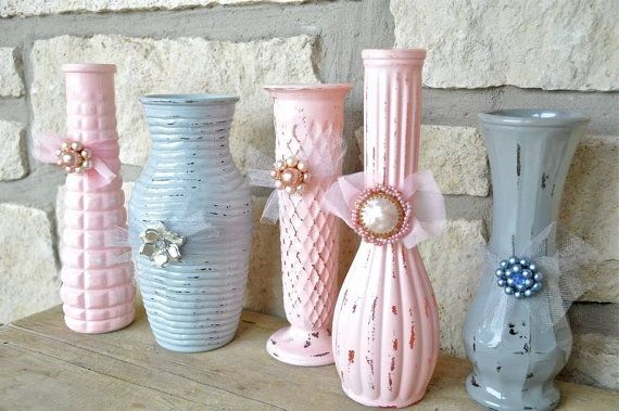 five shabby chic vases with bling distressed painted upcycled bottles wedding decorations on. Black Bedroom Furniture Sets. Home Design Ideas