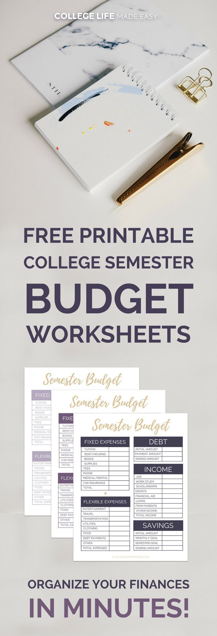 Free Printable College Semester Budget Worksheets: Organize Your Finances in Minutes! | Free College Student Budget Template | Semester Planner Tracker | via @esycollegelife