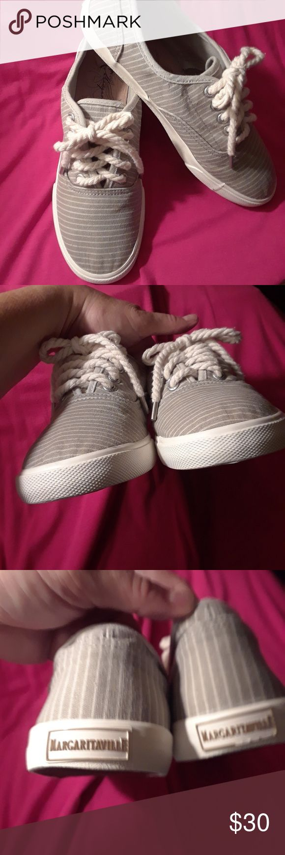 ** REMOVING 10/1 ** EUC Margaritaville Sneakers! Excellent condition, Jimmy Buffet Parrothead striped deck shoe / sneakers in a soft gray & white stripe; rope shoelaces!  Please review all pics carefully and feel free to ask questions. Margaritaville Shoes Sneakers