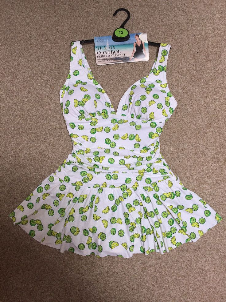 M&S TUMMY CONTROL Skirted Swimsuit Swimdress Slim Waist Padded Cup UK12 BNWT wm