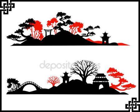 Скачать - Абстрактный пейзаж Азии — стоковая иллюстрация #20137259