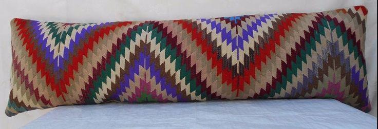 18 X 60 '' Handmade Garden Living Bench,Vintage Wool Patio Kilim Cushion Cover #Handmade #Traditional