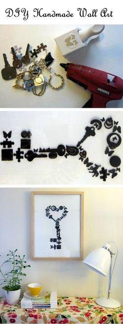 maak van sleutels, hartjes, houten voorwerpjes zelf een schilderij.