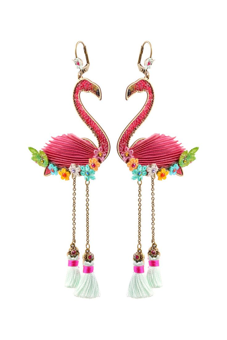 Michal Negrin Shiny Flamingo Earrings Swarovski #100174831001 | eBay