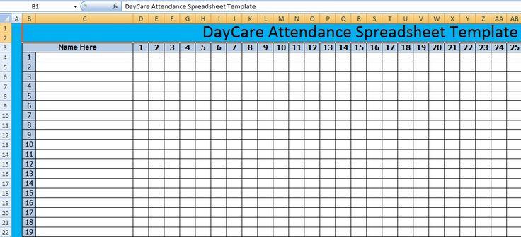 Download DayCare Attendance Spreadsheet Templates – Excel Spreadsheet Templates